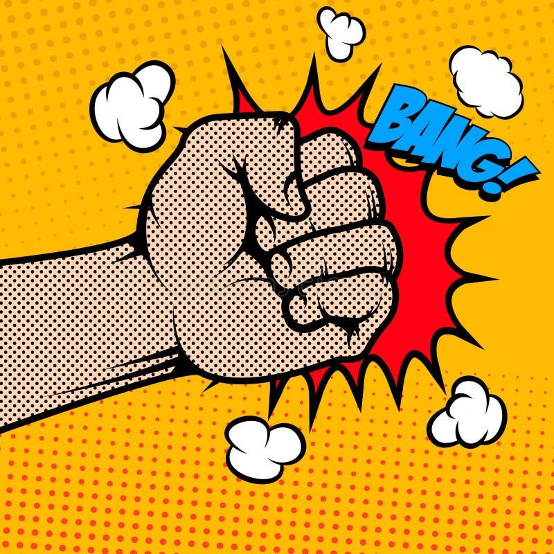 bangers Человеческий кулак в стиле искусства шипучки бесплатная иллюстрация