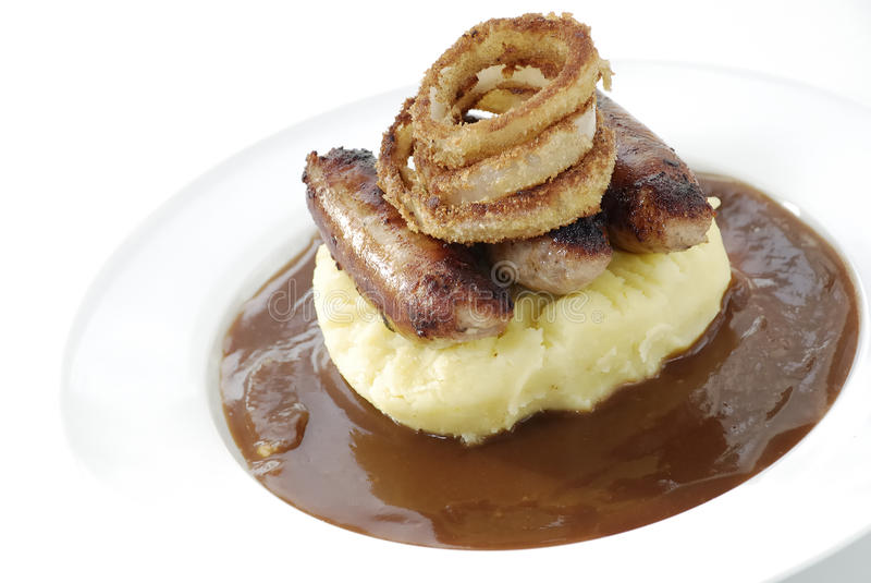 Bangers and mash stock photography