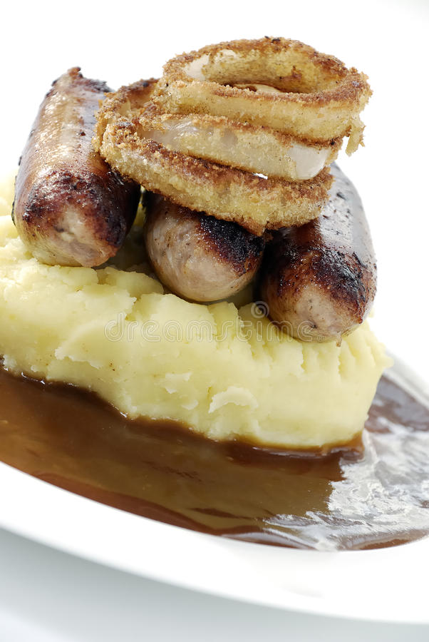Download Bangers and mash stock photo. Image of meat, rings, tasty - 13073464