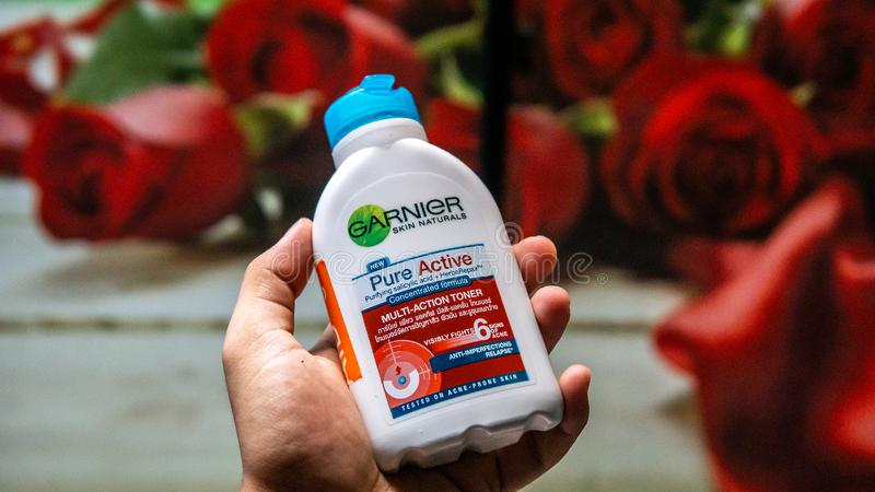 Garnier brand pure active multifunction toner. Anti imperfection. Skincare product to fight acne. Bangi, Malaysia - July 27, 2019: Garnier brand pure active royalty free stock photography