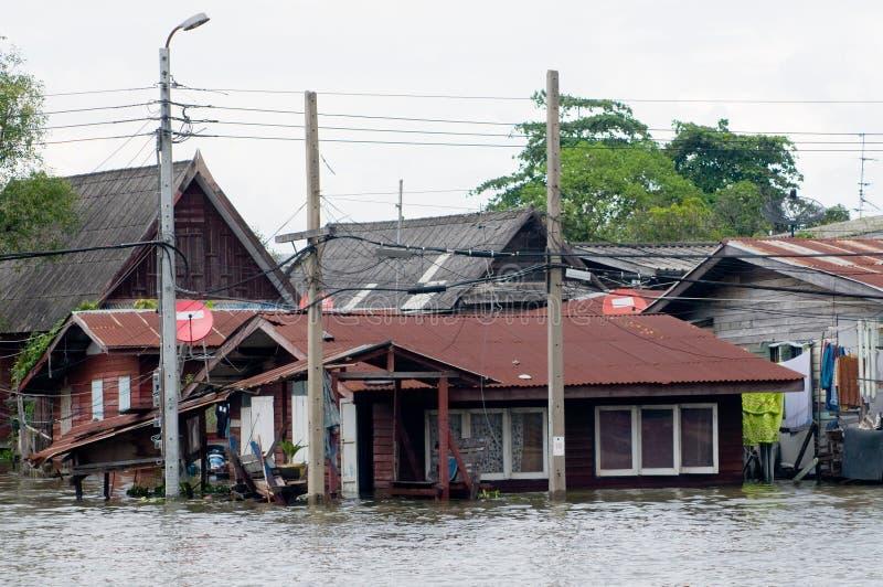 bangkok затопил дома Таиланд стоковая фотография rf