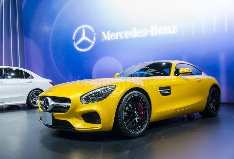 BANGKOK - 3. APRIL: Benz GTS auf der Bühnenshow im 36. Knall stockfotografie