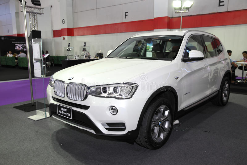 BANGKOK - August 4: BMW X3 sDrive20d car on display at Big Motor. Sale on August 4, 2015 in Bangkok, Thailand stock images