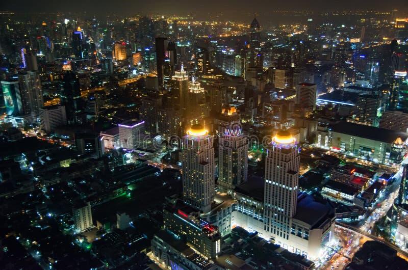 Bangkok bästa nattsikt av Thailand huvudstaden royaltyfri foto