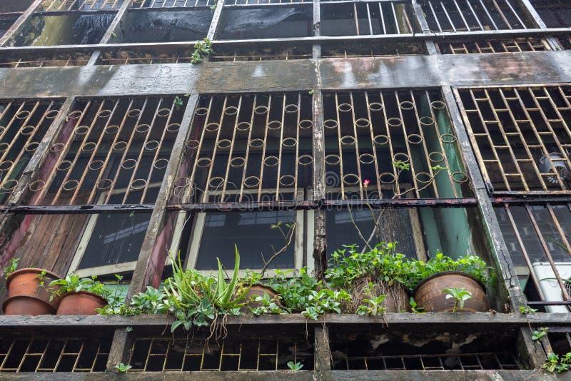 Bangkok building detail barred windows royalty free stock image