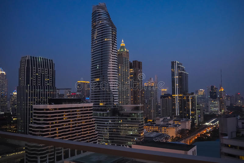 Bangkok building rooftop night view. Bangkok rooftop night view for your mind royalty free stock image
