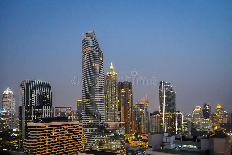 Bangkok building rooftop night view. Bangkok rooftop night view for your mind stock photo