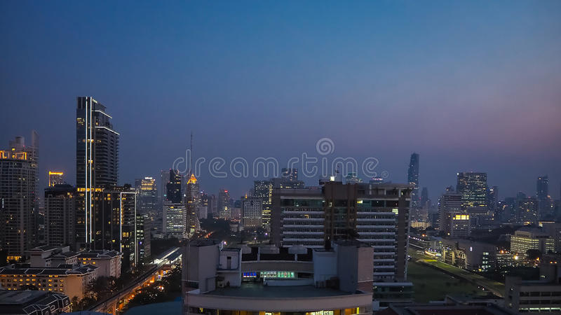 Bangkok building rooftop night view. Bangkok rooftop night view for your mind royalty free stock photos