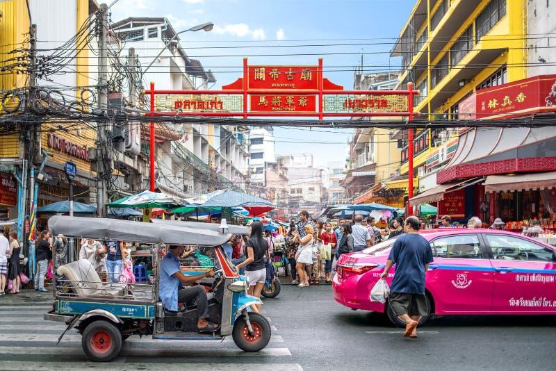 Bangkok China Town or Yaowarat Street with Tuk Tuk Taxi stock photo