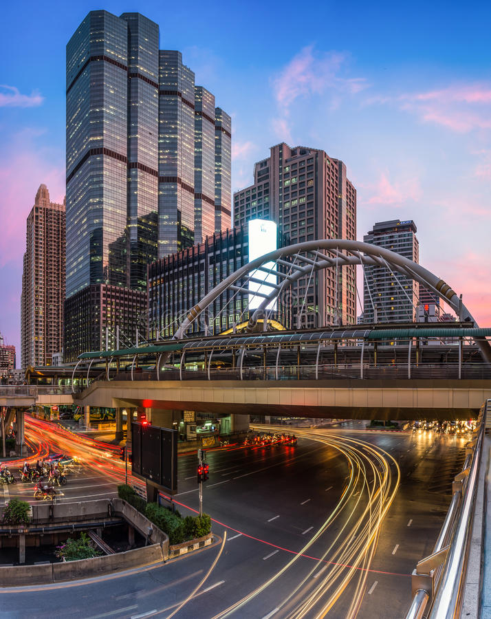 Bangkok city, buildings and traffic in business area stock image