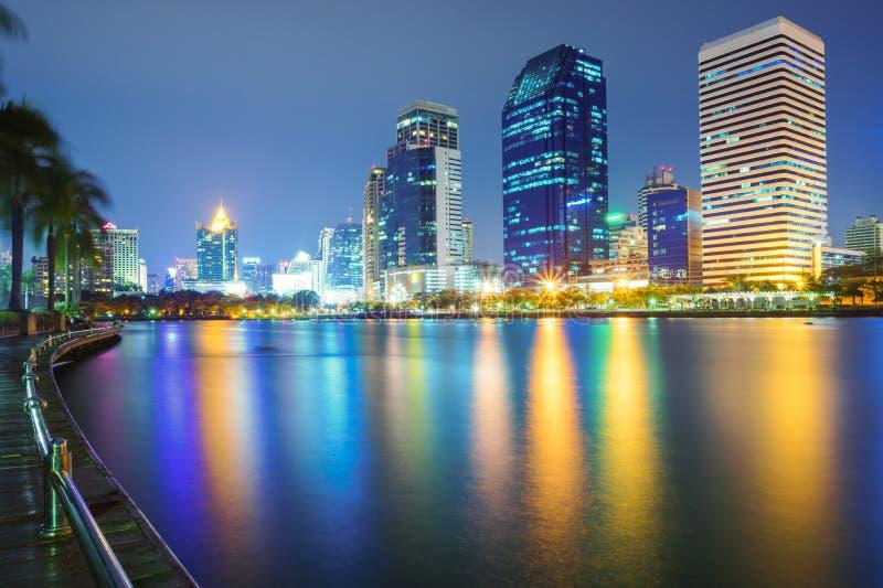 Bangkok city downtown at night, Thailand. Bangkok city downtown at night with reflection of skyline, Bangkok,Thailand stock photography