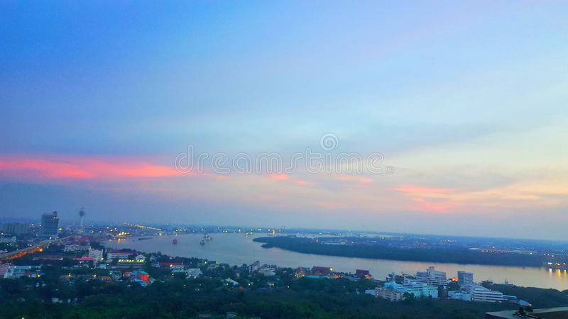Bangkok city night scene and architectural landscape skyline, Beautiful city and Chao Phraya River view. Nature background: October 2018 stock photo