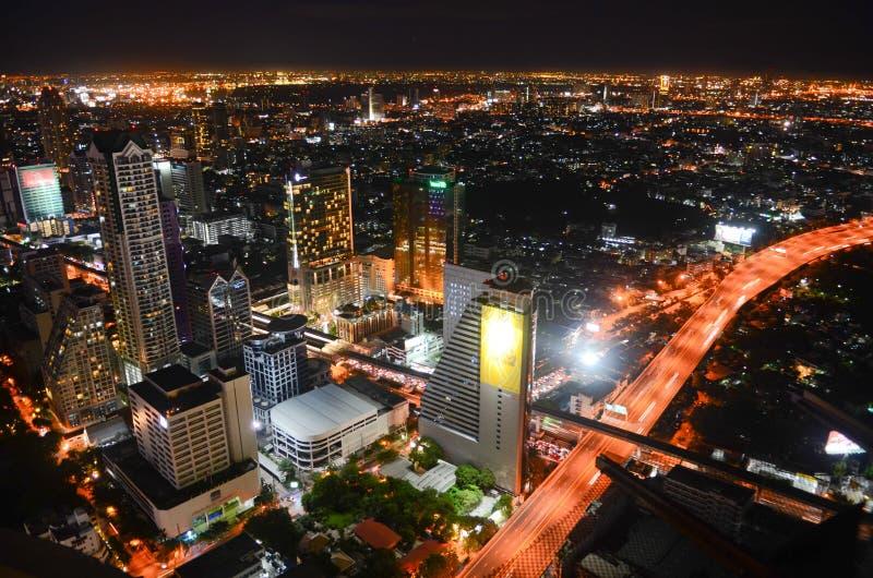 Bangkok city at night stock images