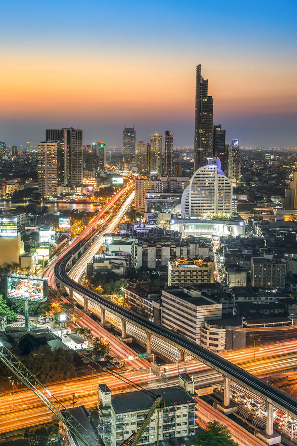 Bangkok City at night time, Hotel and resident area in the capital royalty free stock photos