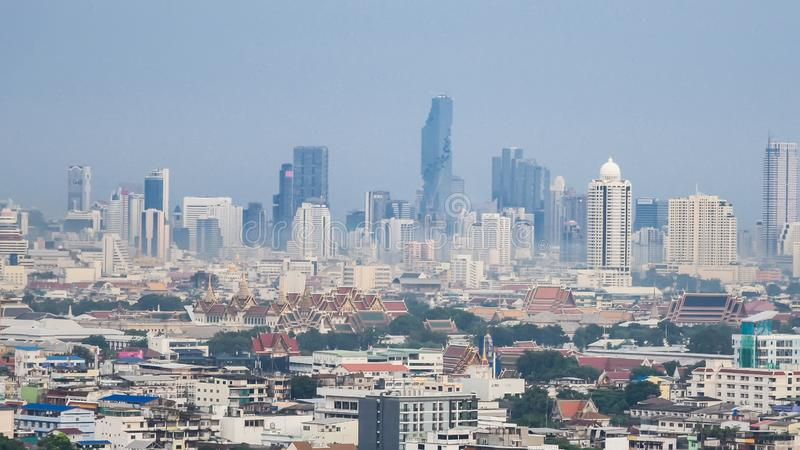 Bangkok city skyline cityscape.Bangkok district pollution by car and industry in downtown.Bangkok climate change pollution stock images