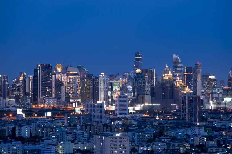 Bangkok city skyline at night with downtown district and business, travel stock image