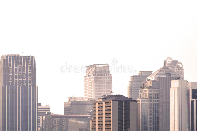 Bangkok city skyscrapers on a white background stock photography