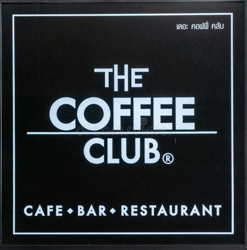 Sign and logo of The Coffee Club in Bangkok, Thailand. Bangkok city, Thailand - March 17, 2019: White on black sign and logo of the Coffee Club, a restaurant and stock photos