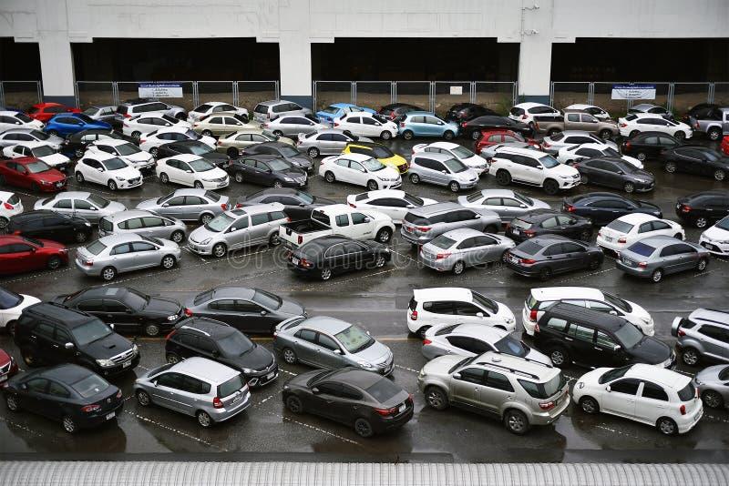 BANGKOK CITY, THAILAND - Parking lot lack of space problem, Messy car parking full. royalty free stock photos