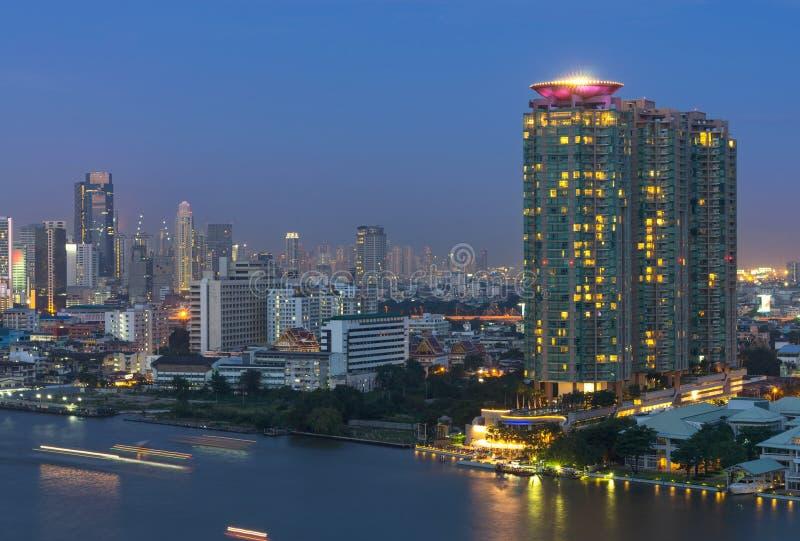 Download Bangkok Cityscape. Bangkok River Side With Light Of Yacht At Twi Stock Image - Image: 37874223
