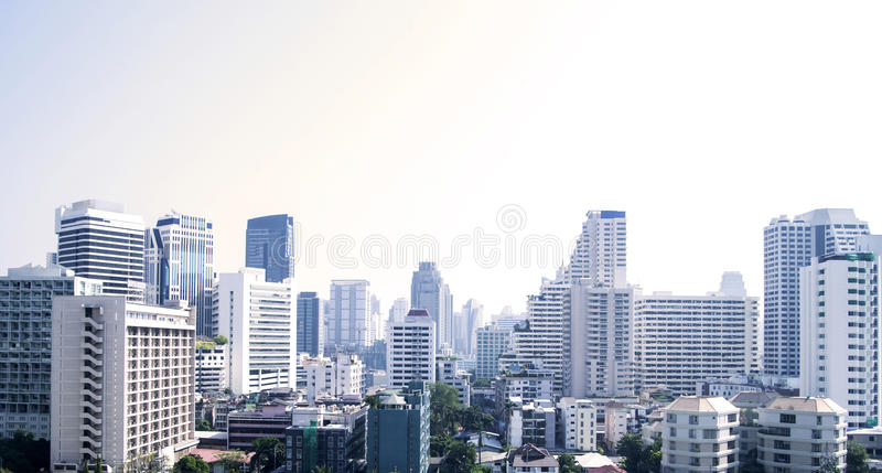 Bangkok cityscape of different office buildings and condos stock photography