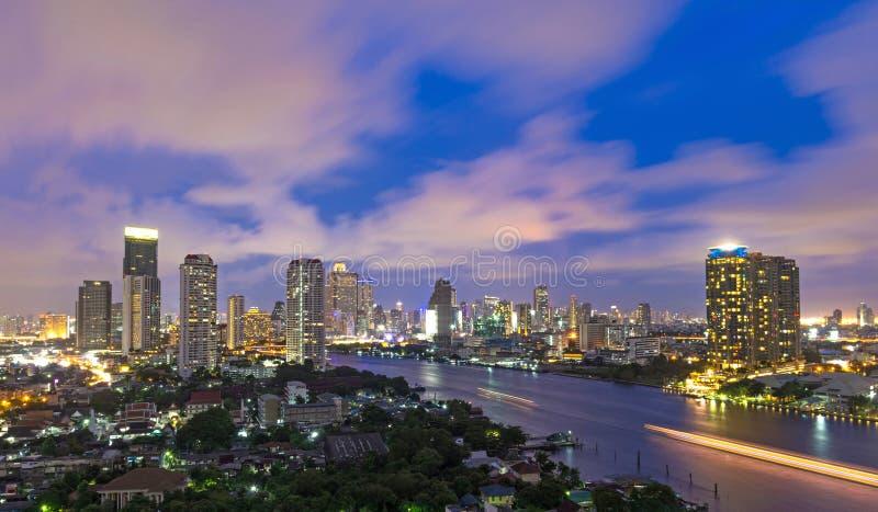 Bangkok cityscape Modern building river side on twilight time,Th
