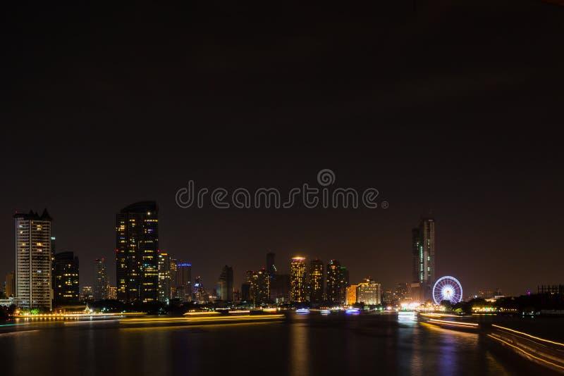 Bangkok cityscape river side at Night time. Bangkok cityscape river side at Night time,Thailand royalty free stock photo