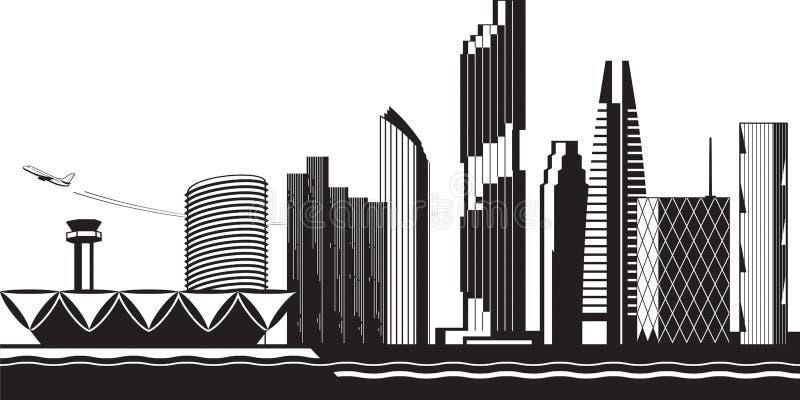 Bangkok cityscape vid dag vektor illustrationer