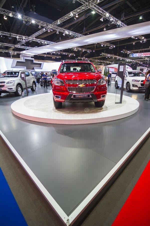 BANGKOK - 30 DE MARZO: Alto país de Chevrolet Colorado en la exhibición en el salón del automóvil internacional 2015 de Tailandia fotografía de archivo