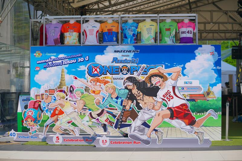 Bangkok - Feb 1, 2020 : A photo of One Piece standee to promote maraton event call Runderful One Piece in Bangkok to celebrate. Bangkok, Thailand - Feb 1, 2020 royalty free stock images