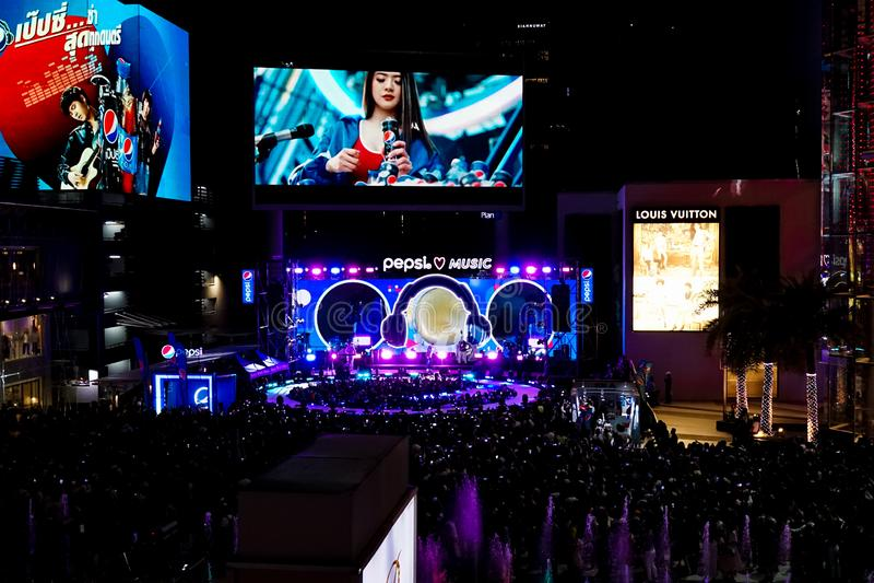 Bangkok - 22 Februari, 2019: Een foto van Pepsi-Muziekroadshow, een campagne om nieuw marketing platform voor schop van 2019 te v royalty-vrije stock afbeeldingen