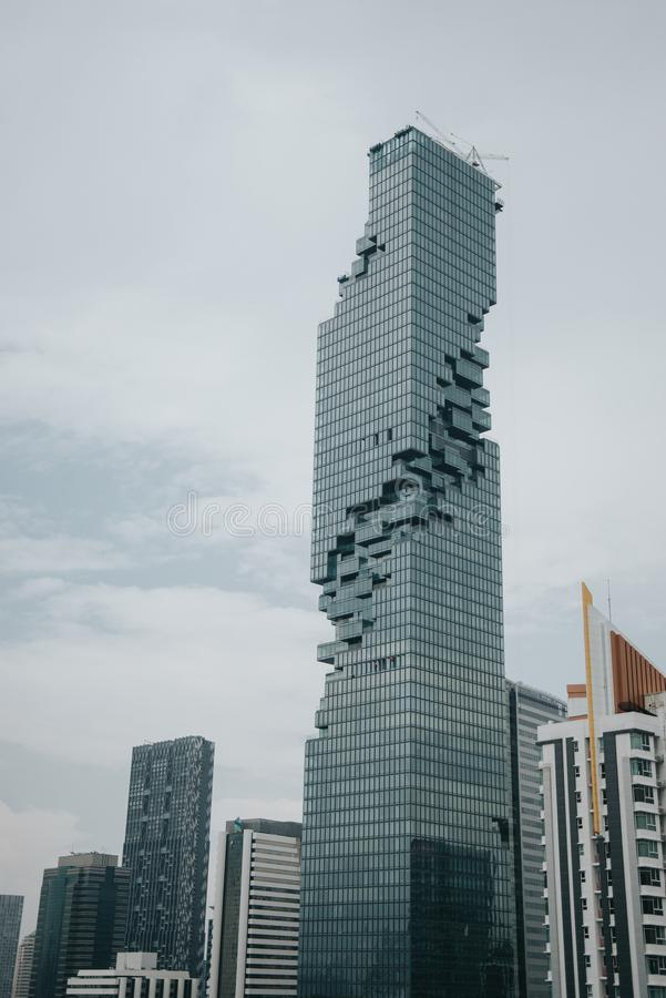 Bangkok financial district, business building and shopping mall center at Southeast Asia royalty free stock photo