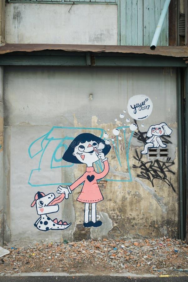 Bangkok-Graffiti-Wand lizenzfreie stockbilder