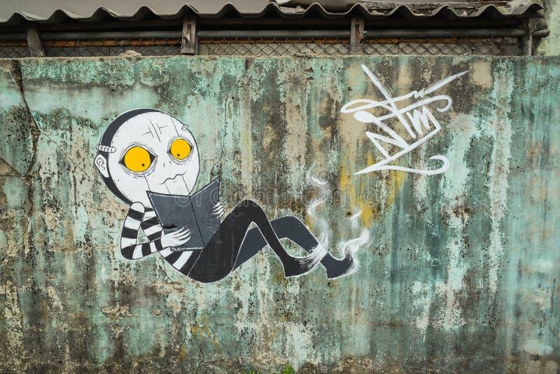 Bangkok-Graffiti-Wand lizenzfreies stockfoto