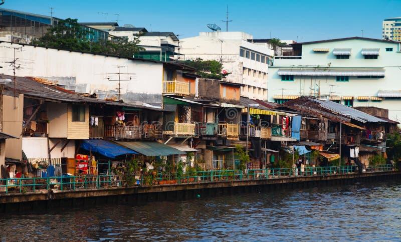 Bangkok homes. At a domestic canal royalty free stock photos