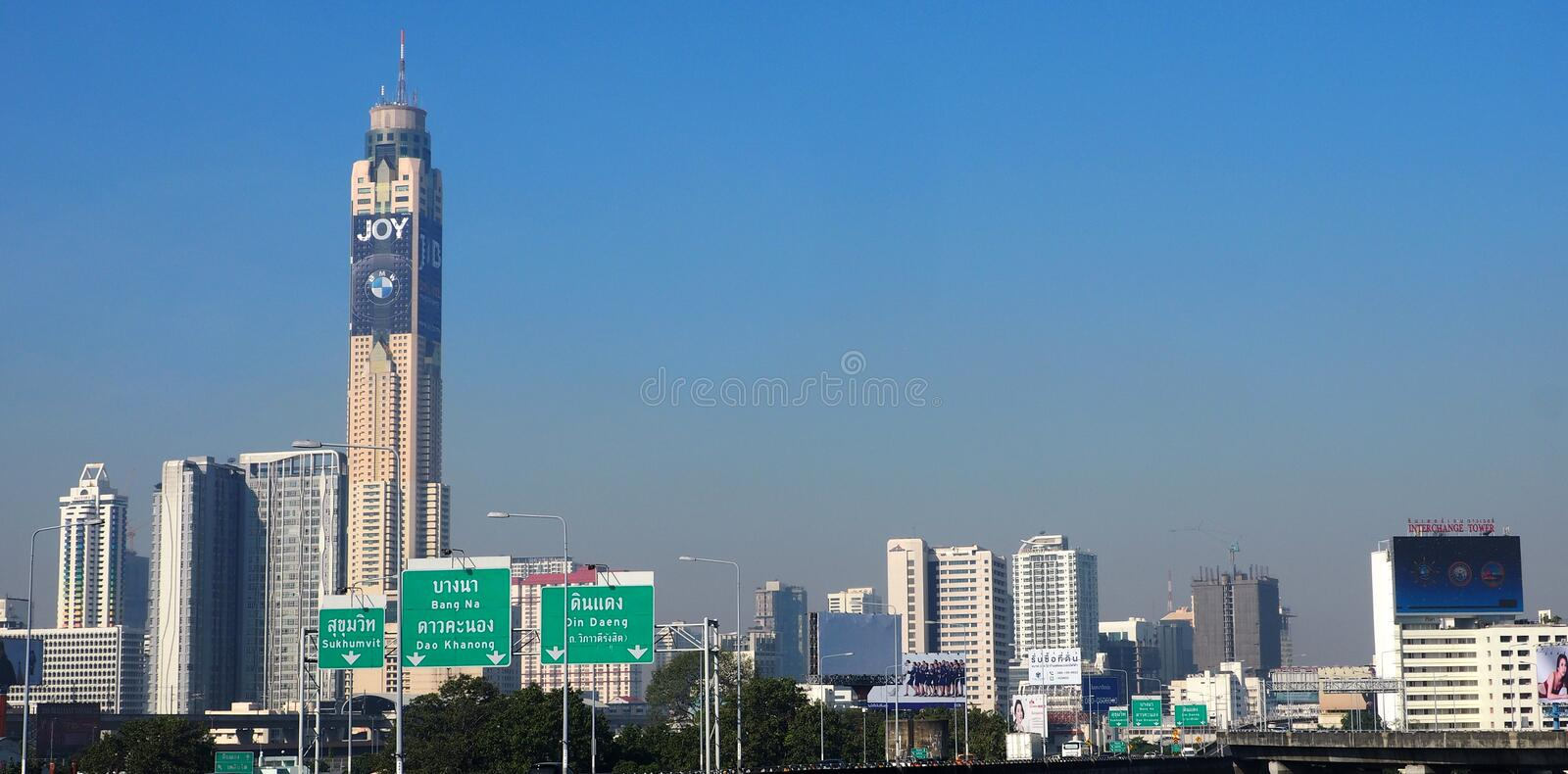 Bangkok impressive architecture soars into blue sky royalty free stock images