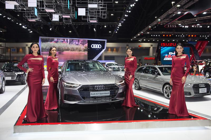 Bangkok International Motor Show 2018 with Beautiful Asian Pretty popular marketing for making car booth stock images