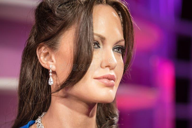 BANGKOK - 29 JANUARI: Waxwork van Angelina Jolie op vertoning bij Mevrouw stock foto's