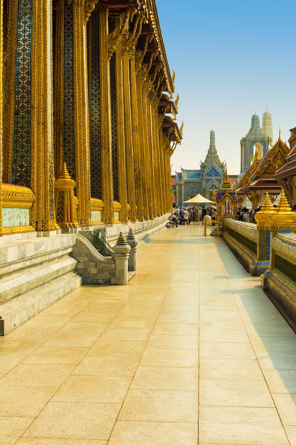 Temples in Wat Phra Kaew in a sunny day royalty free stock photography