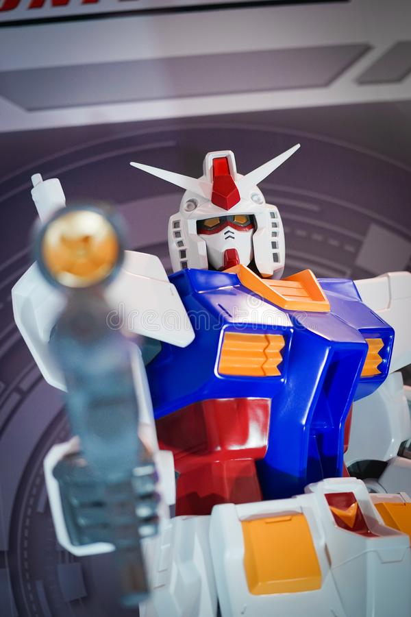 Portrait shot of Gundam Build Fighters Robot in larger than human life size. Gundam Universe stock photography
