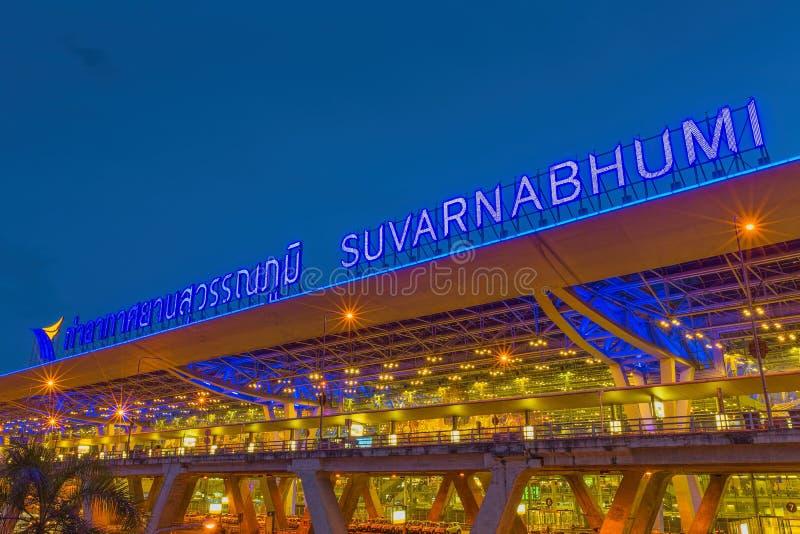 BANGKOK-JULY 20: Suvarnabhumi Airport at night on July 20, 2014 in Bangkok ,Thailand. royalty free stock photography