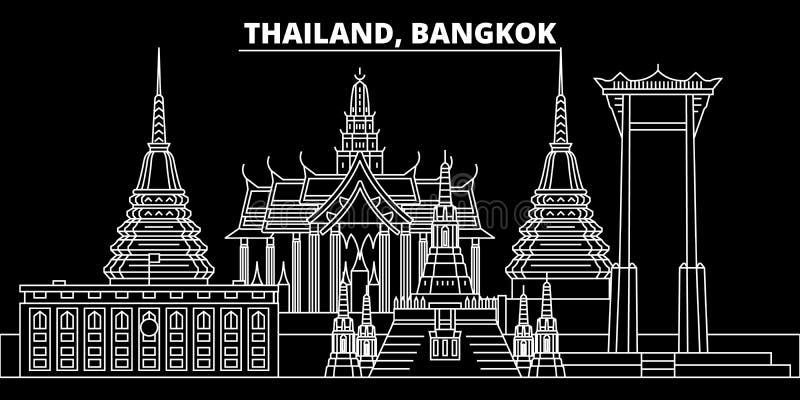 Bangkok konturhorisont Thailand - Bangkok vektorstad, thai linjär arkitektur, byggnader Bangkok linje lopp royaltyfri illustrationer