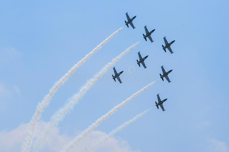 BANGKOK - MARCH 21 -Breitling Jet Team show and Rayal Thai Air F stock photography