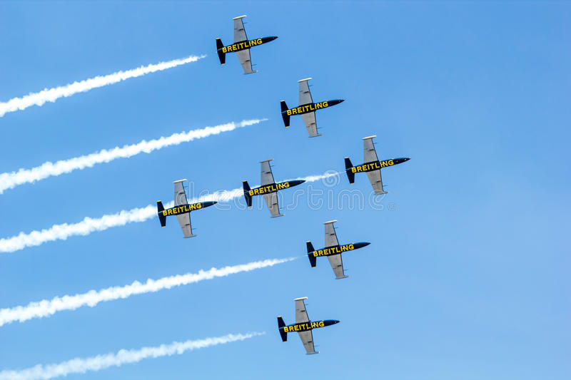 Download BANGKOK - MARCH 23:Breitling Jet Team Under The Royal Sky Breitling Team And Rayal Thai Air Force Air Show At Donmueang Bangkok Editorial Stock Image - Image of oporto, land: 29994149