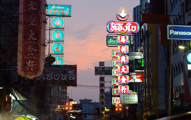 BANGKOK - MARCH 21: The China Town at Yaowarat Road. Neon light royalty free stock images