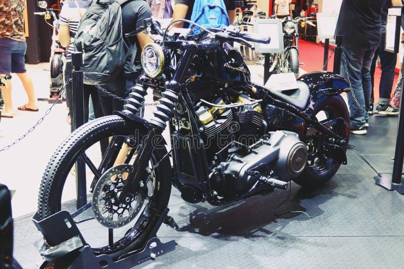 Bangkok, marzec 30, 2019: Motorowy roweru szczegółu Harley-Davidson motocykl pokazywał w 40th Tajlandia zawody międzynarodowi sil obraz stock