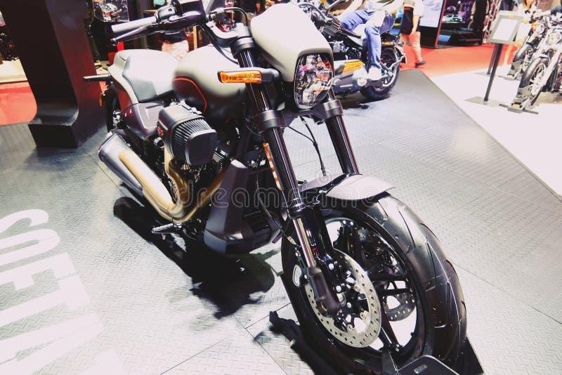 Bangkok, marzec 30, 2019: Motorowy roweru szczegółu Harley-Davidson motocykl pokazywał w 40th Tajlandia zawody międzynarodowi sil fotografia royalty free