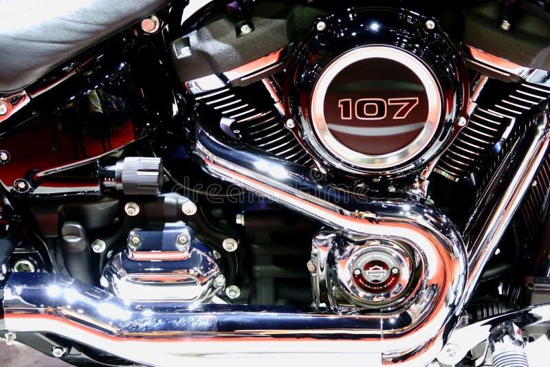 Bangkok, marzec 30, 2019: Motorowy roweru szczeg??u Harley-Davidson motocykl pokazywa? w 40th Tajlandia zawody mi?dzynarodowi sil fotografia stock