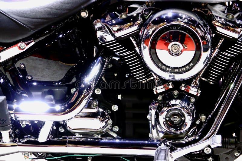 Bangkok, marzec 30, 2019: Motorowy roweru szczeg??u Harley-Davidson motocykl pokazywa? w 40th Tajlandia zawody mi?dzynarodowi sil zdjęcie royalty free