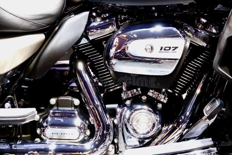 Bangkok, marzec 30, 2019: Motorowy roweru szczeg??u Harley-Davidson motocykl pokazywa? w 40th Tajlandia zawody mi?dzynarodowi sil obrazy stock